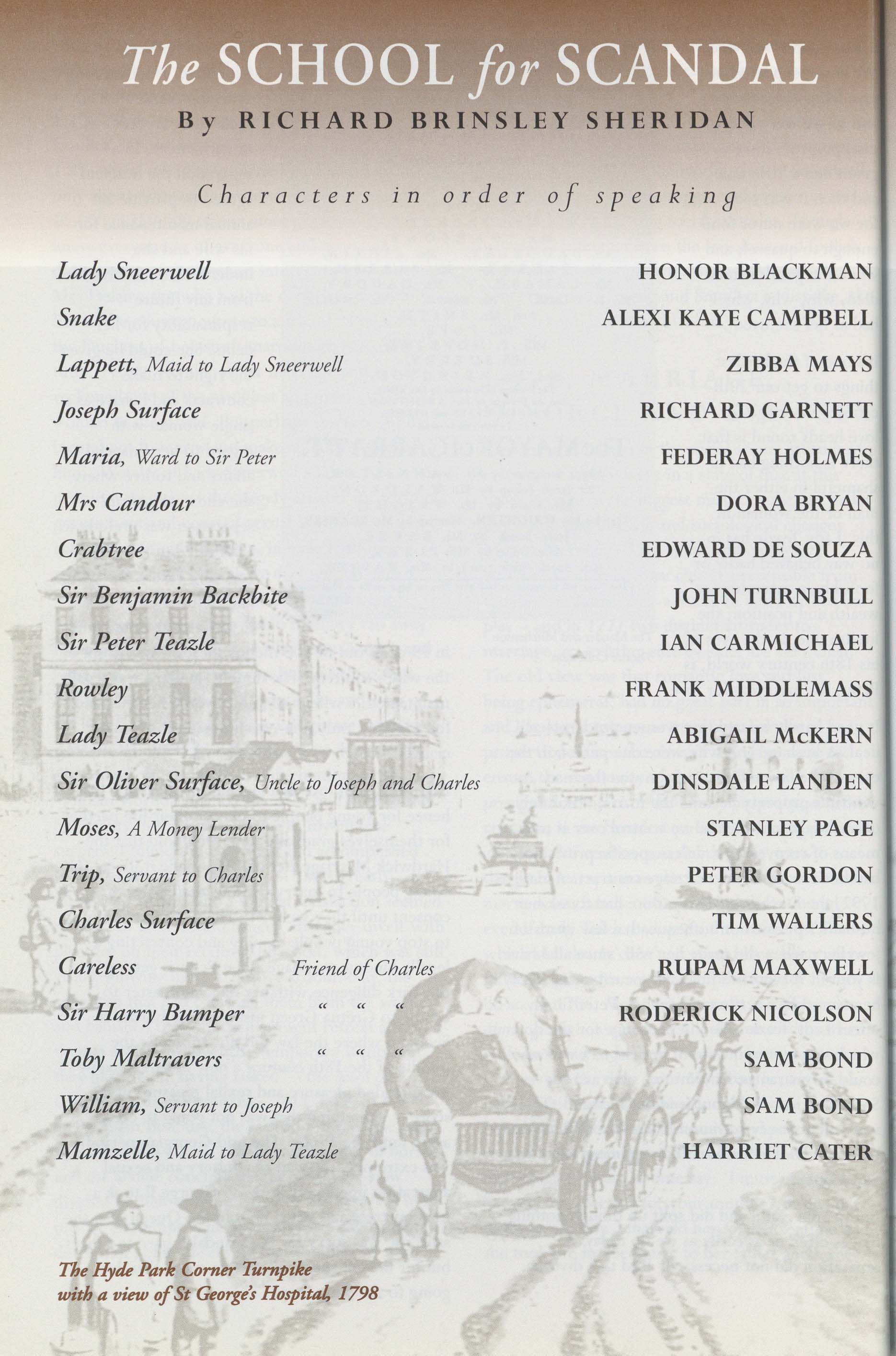 Cast List The School For Scandal 1995 Pass It On