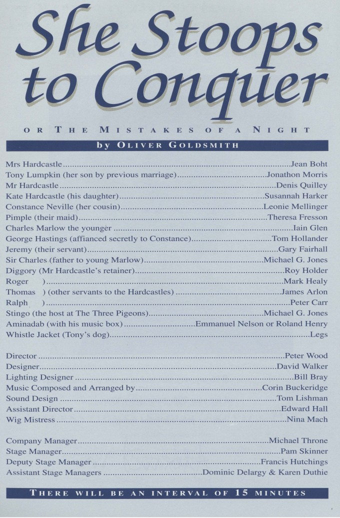 Cast list - She Stoops to Conquer - 1992
