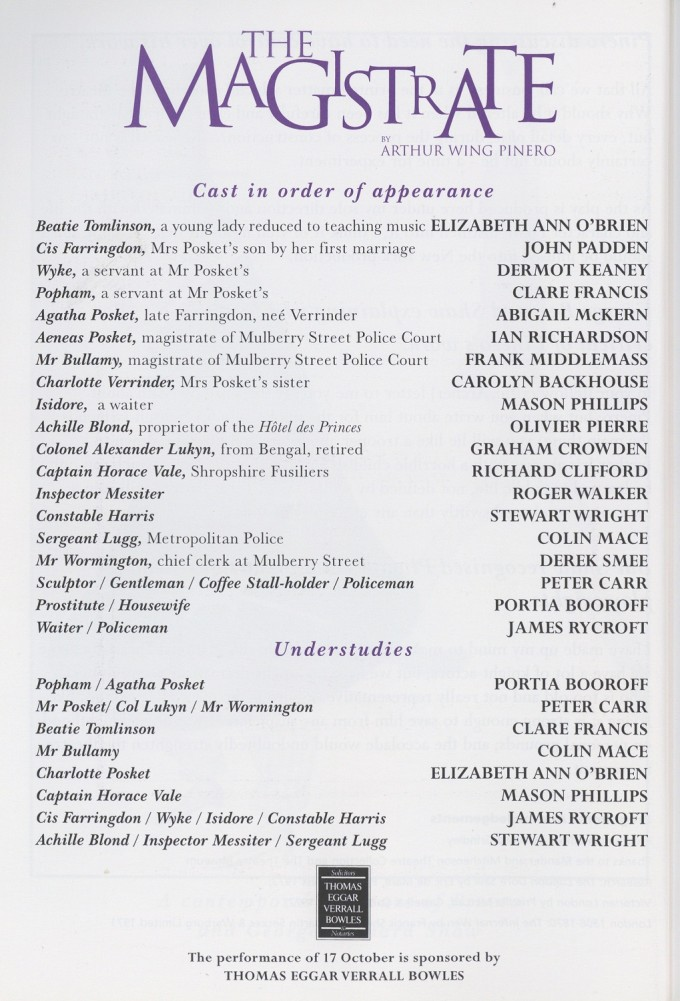 Cast list - The Magistrate - 1997 - 2 of 2