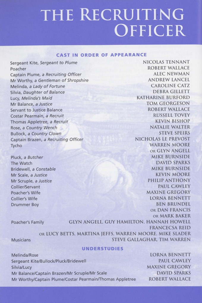 Cast list  -  The Recruiting Officer - 2000 - 1 of 2