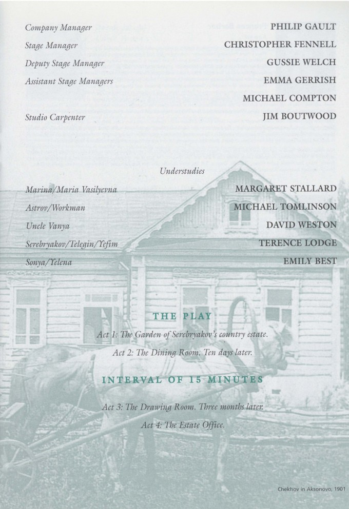 Cast list  -  Uncle Vanya - 1996 - 1 of 2