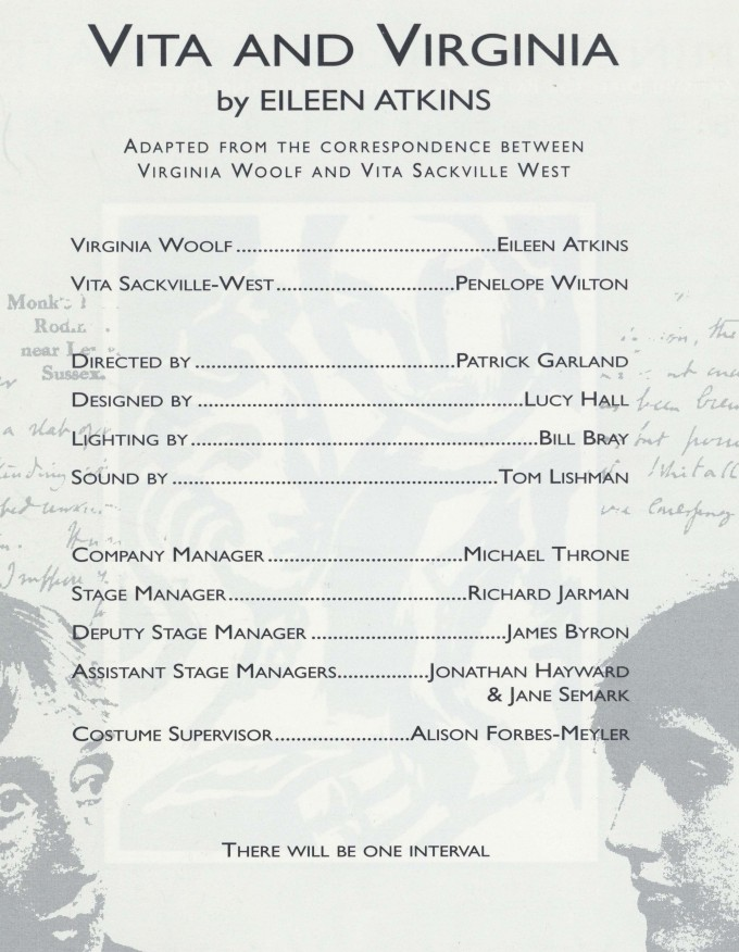 Cast list - Vita and Virginia 1992