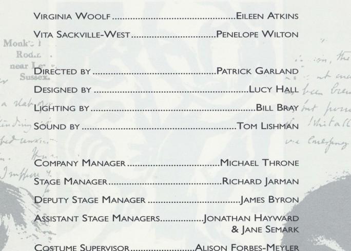 Cast list - Vita and Virginia 1992