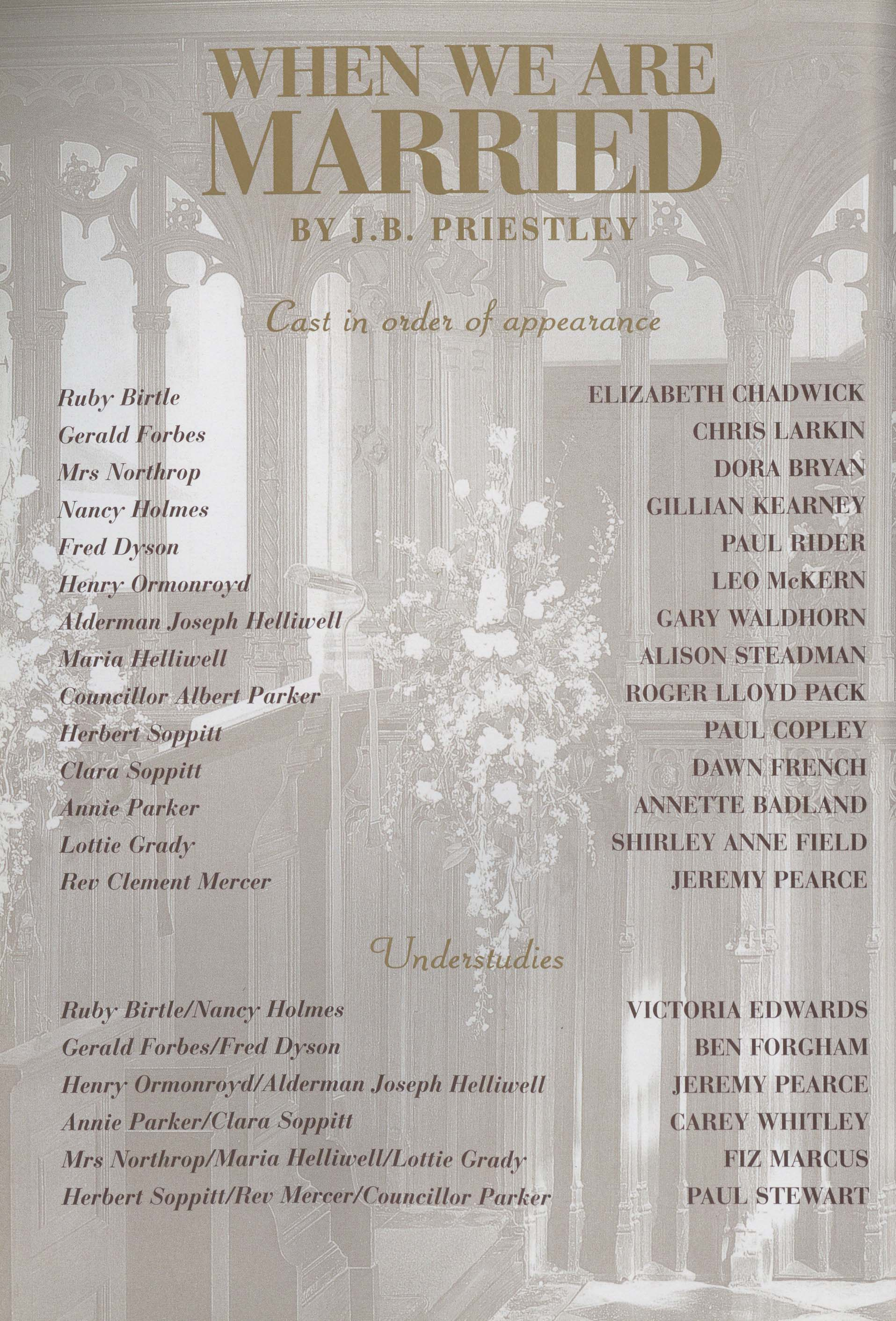 Cast List When We Are Married 1996 Pass It On