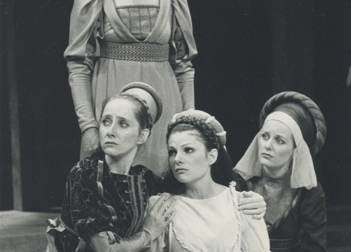 Production Photograph - Much Ado About Nothing - Gemma Jones, Briony McRoberts, Jessica Turner, Alexa Povah - Photographer Sophie Baker -   1980 - H23.5cm W18cm - 1 of 2