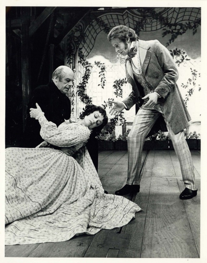 Production photograph - Robert and Elizabeth - John Savident, Gaynor Miles, Mark Wynter  - Photographer Reg Wilson - 1987 - H20xW25cm 1 of 2