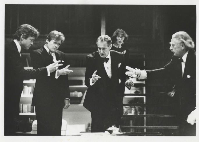Production photograph - Rumours - David Yelland, Simon Ward, Una Stubbs, Jeffry Wickham - Photographer John Haynes - 1990 - H20xW25.5cm 1 of 2