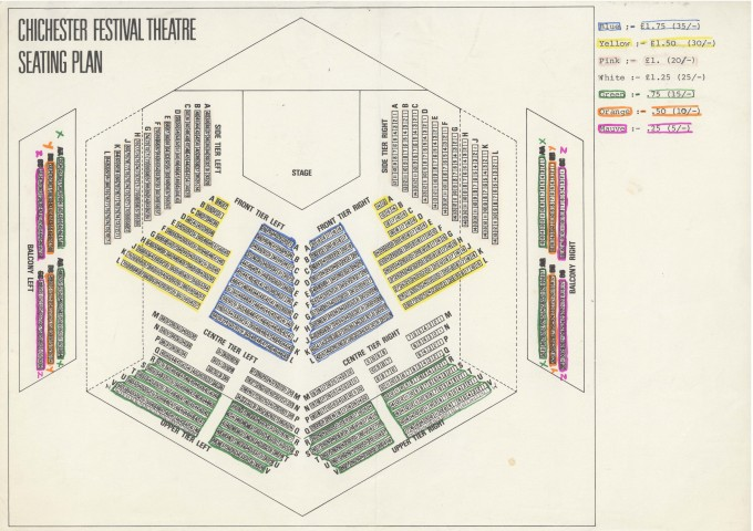 Seating Plan Festival Theatre - Date unknown - B Blay Collection