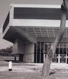 Detail of Chichester Festival Theatre, showing the raking and cantilever.