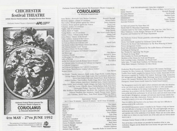 Cast list - Coriolanus - 1992 - R Ansley collection - H29.8cm W21cm