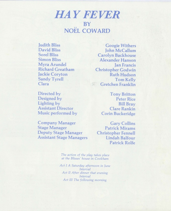 Cast list - Hay Fever - 1991 - R Ansley collection - H23cm W21cm