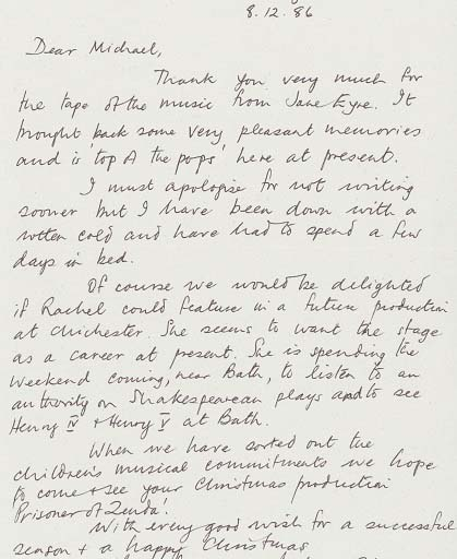 Letter about auditions - Jane Eyre - 1986 - CFT WSRO - 1 of 2