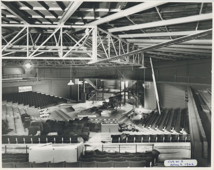 Photograph Auditorium and stage construction - Photographer Charles Howard - 02 Apr 1962 - Box 71 CFT WSRO - H16.2xW20.5cm 1 of 2