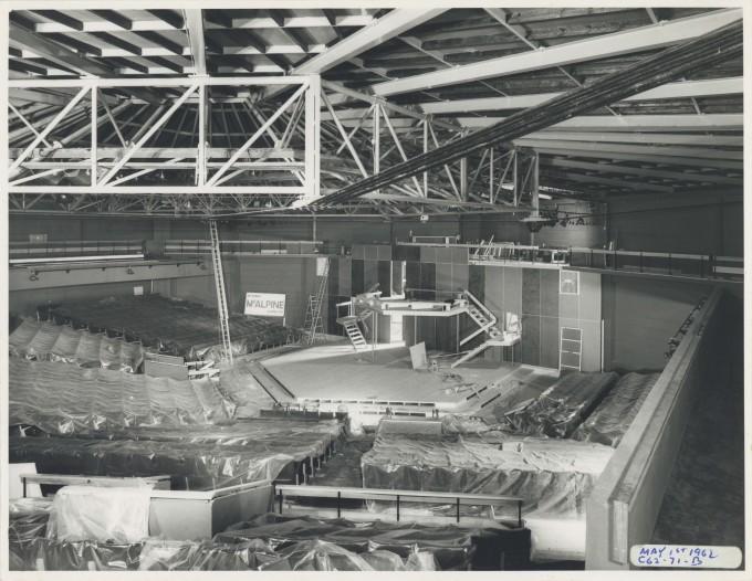 Photograph Auditorium construction - Photographer Charles Howard - 01 May 1962 - Box 71 CFT WSRO H16.5xW21.2cm - 1 of 2