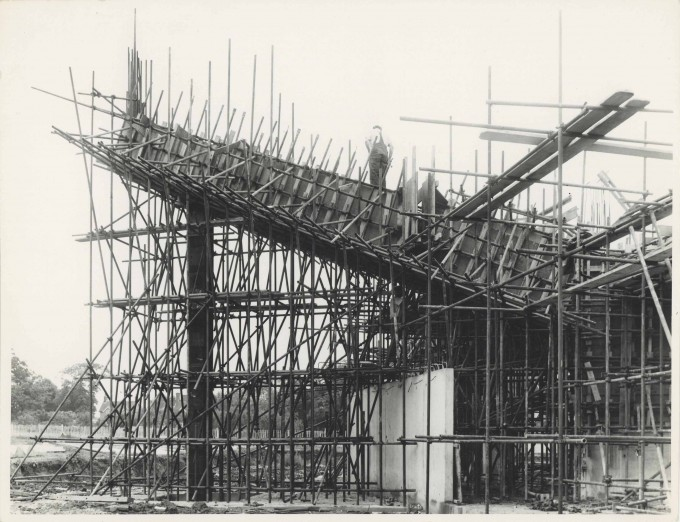 Photograph Construction Cantilever in Scaffolding Exterior Festival Theatre - Photographer unknown - 1960s - Box 71 CFT WSRO