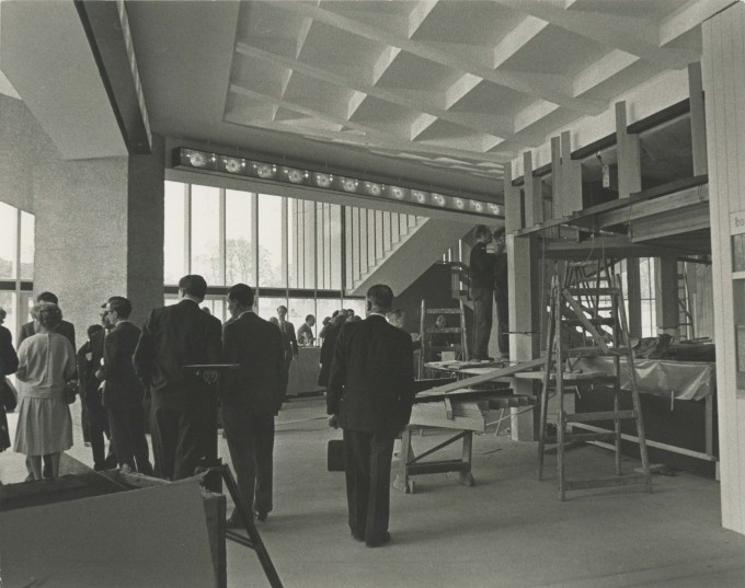 Photograph Interior Foyer construction with visitors - Photographer unknown - Date unknown - Box 71 CFT WSRO H24xW19cm