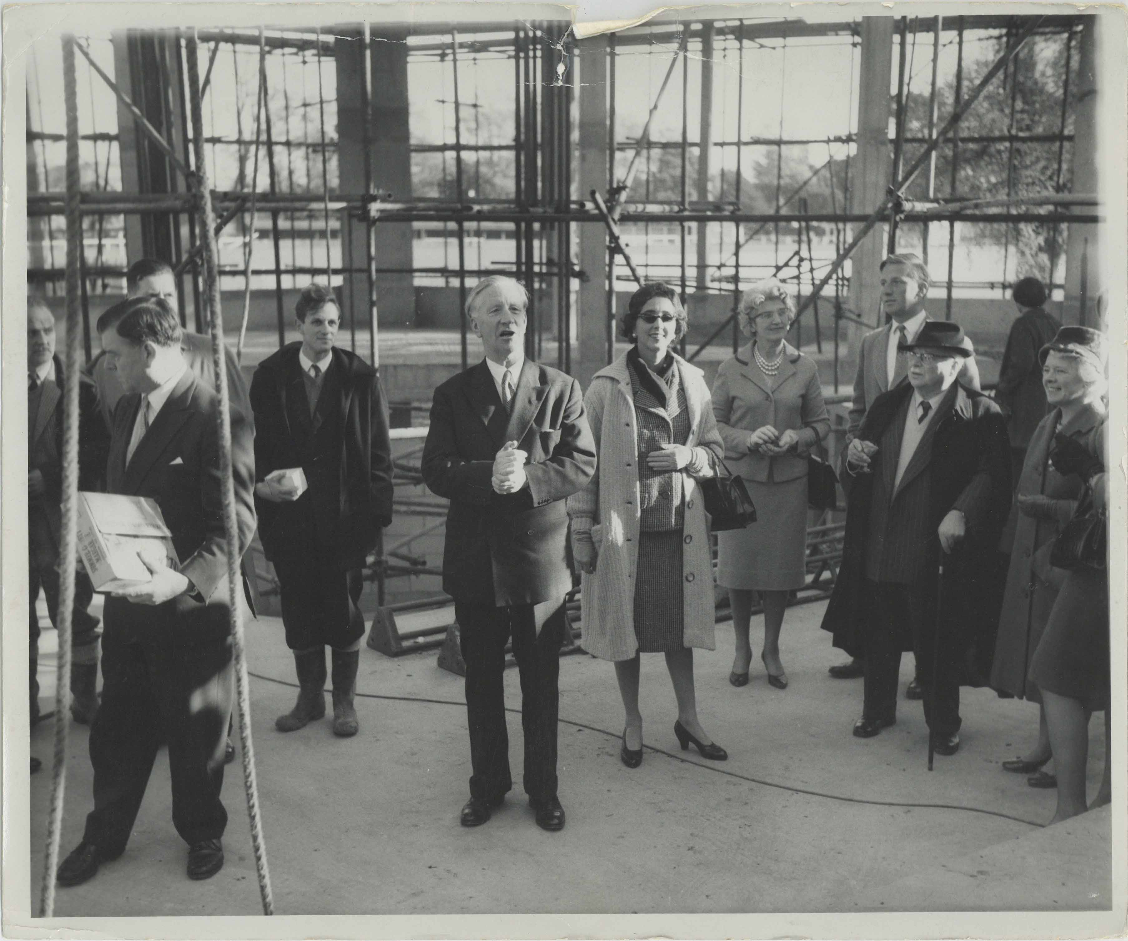 Photograph Topping Out Ceremony - Exterior Festival Theatre - Leslie Evershed-Martin, Mary Bessborough - Photographer unknown - 23 Nov 1961 - Box 71 CFT WSRO