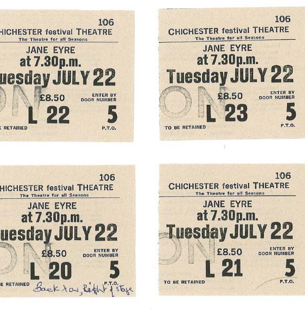 Ticket stubs - Jane Eyre - 22 Jul 1986 - Memorabilia Collection