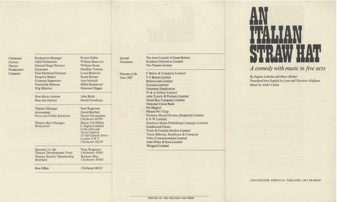 Cast List - An Italian Straw Hat - 1967 - 1 of 2