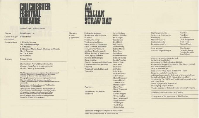 Cast List - An Italian Straw Hat - 1967 - 2 of 2
