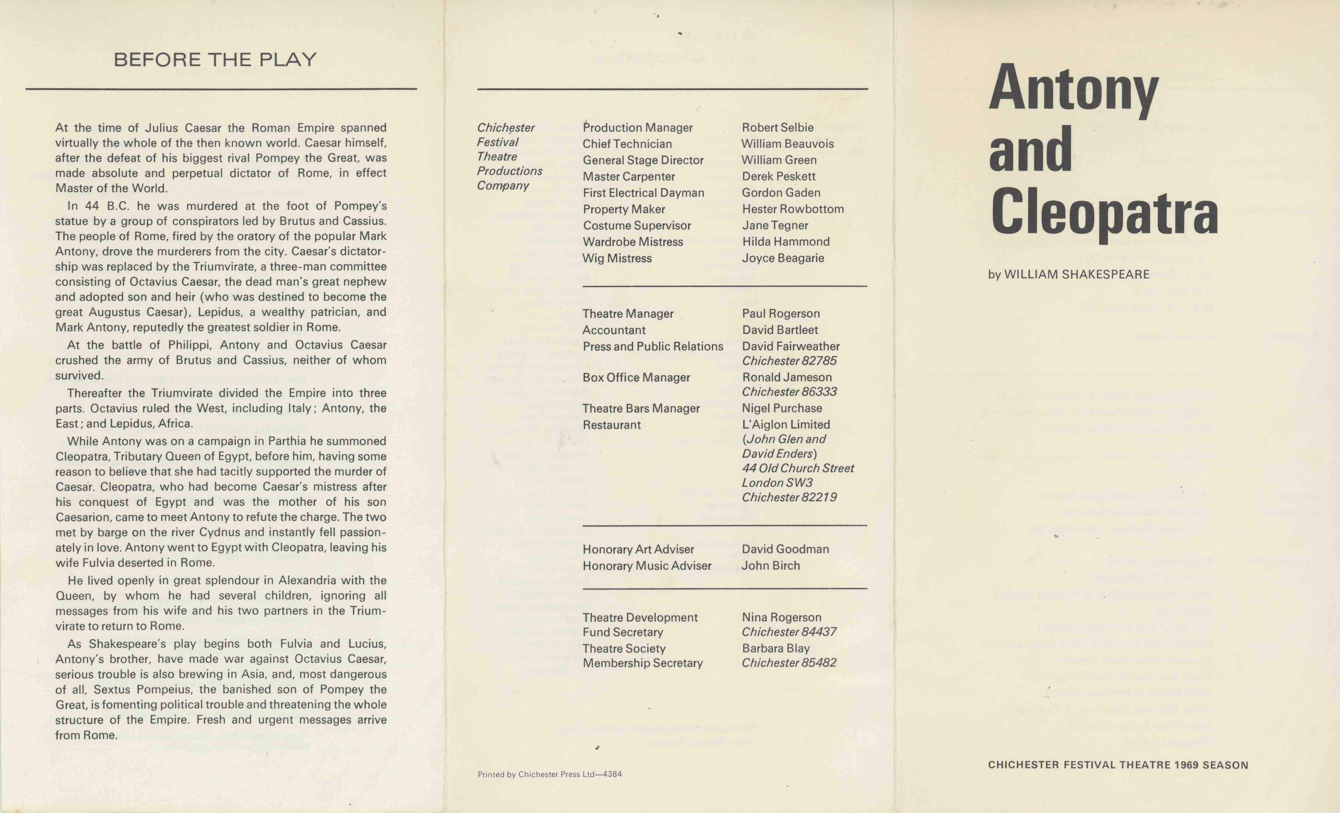 Cast List - Antony and Cleopatra - 1969 - 1 of 2