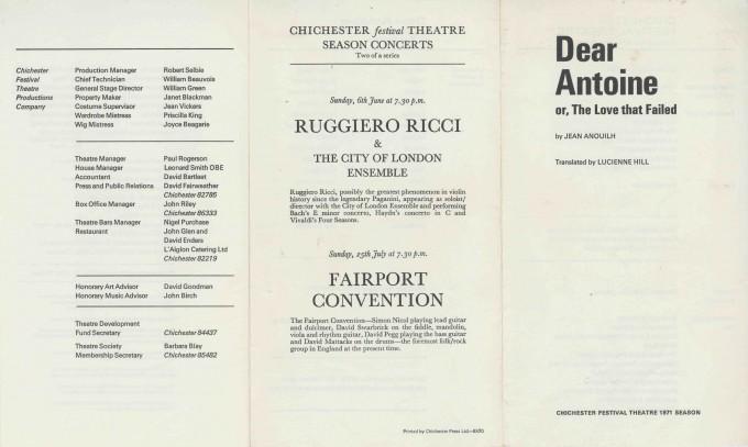 Cast List  - Dear Antoine   - 1971- 1 of 2