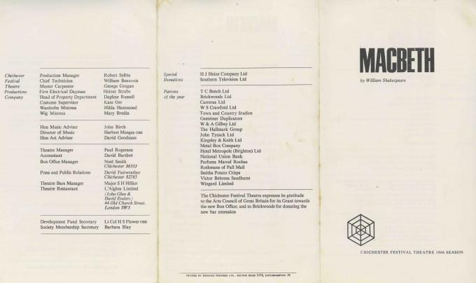 Cast List - Macbeth - 1966 - 1 of 2