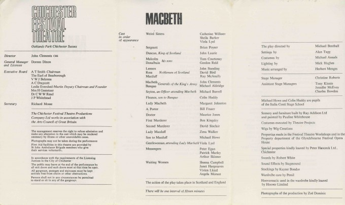 Cast List - Macbeth - 1966 - 2 of 2