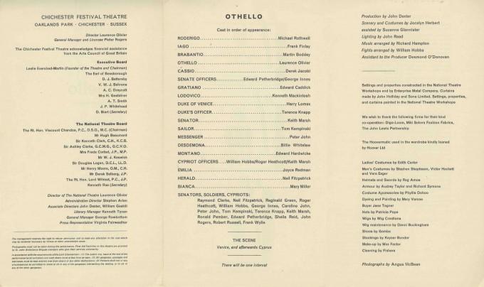 Cast List - Othello - 1964 - 2 of 2