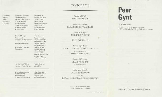 Cast List  - Peer Gynt - 1970 - 1 of 2