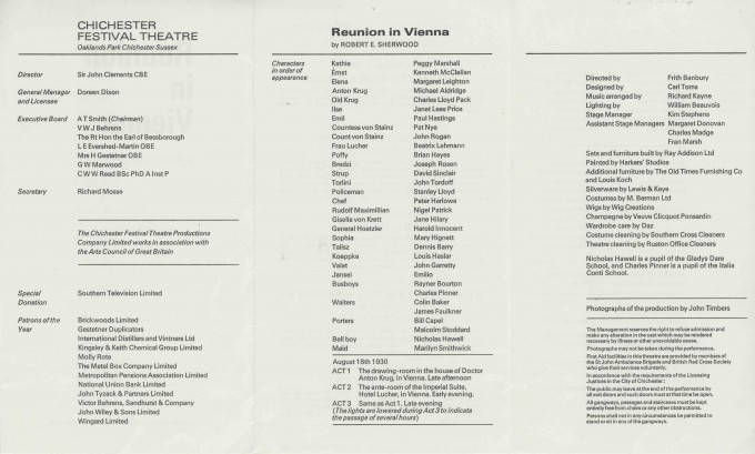 Cast List  - Reunion in Vienna  - 1971- 2 of 2