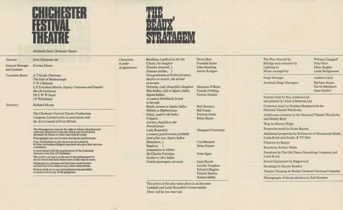 Cast List - The Beaux' Stratagem - 1967- 1 of 2