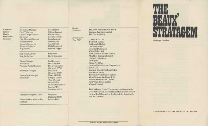 Cast List - The Beaux' Stratagem - 1967 - 2 of 2
