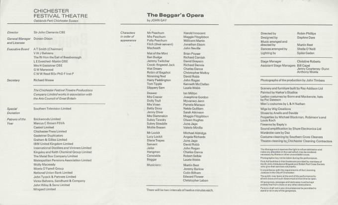 Cast List  - The Beggar's Opera  - 1971 - 2 of 2
