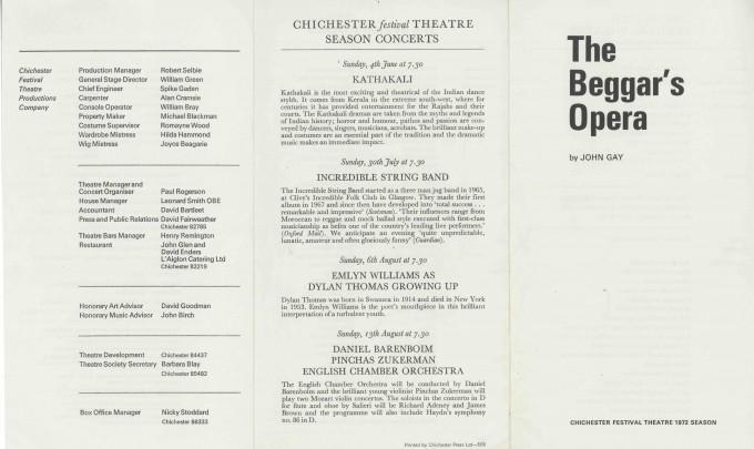 Cast List  - The Beggar's Opera  - 1972 - 1 of 2