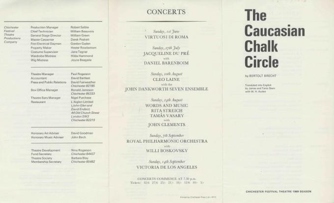 Cast List - The Caucasian Chalk Circle - 1969 - 1 of 2