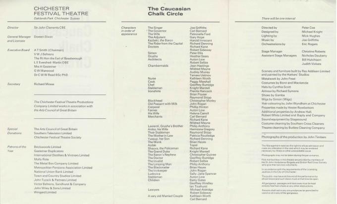 Cast List - The Caucasian Chalk Circle - 1969 - 2 of 2