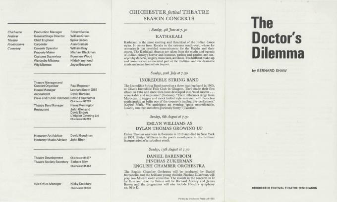 Cast List  - The Doctor's Dilemma  - 1972 - 1 of 2