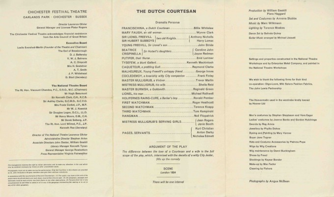 Cast List - The Dutch Courtesan - 1964 - 2 of 2