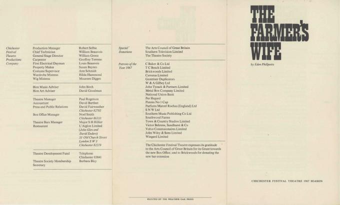 Cast List - The Farmer's Wife - 1967 - 1 of 2