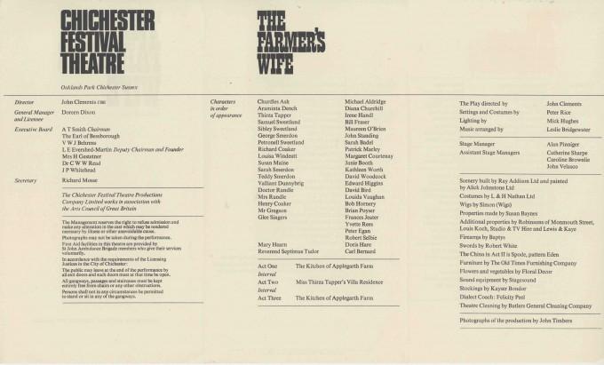 Cast List - The Farmer's Wife - 1967 - 2 of 2