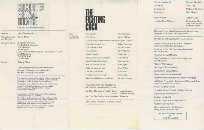 Cast List - The Fighting Cock - 1966 - 2 of 2