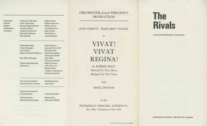 Cast List  - The Rivals  - 1971- 1 of 2