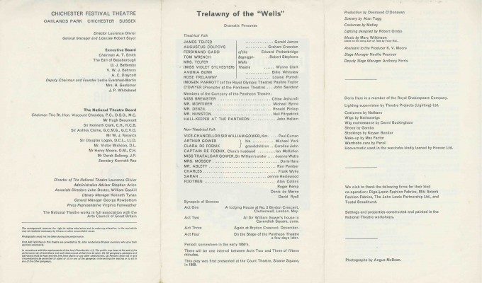 Cast List - Trelawny of the Wells - 1965 - 2 of 2