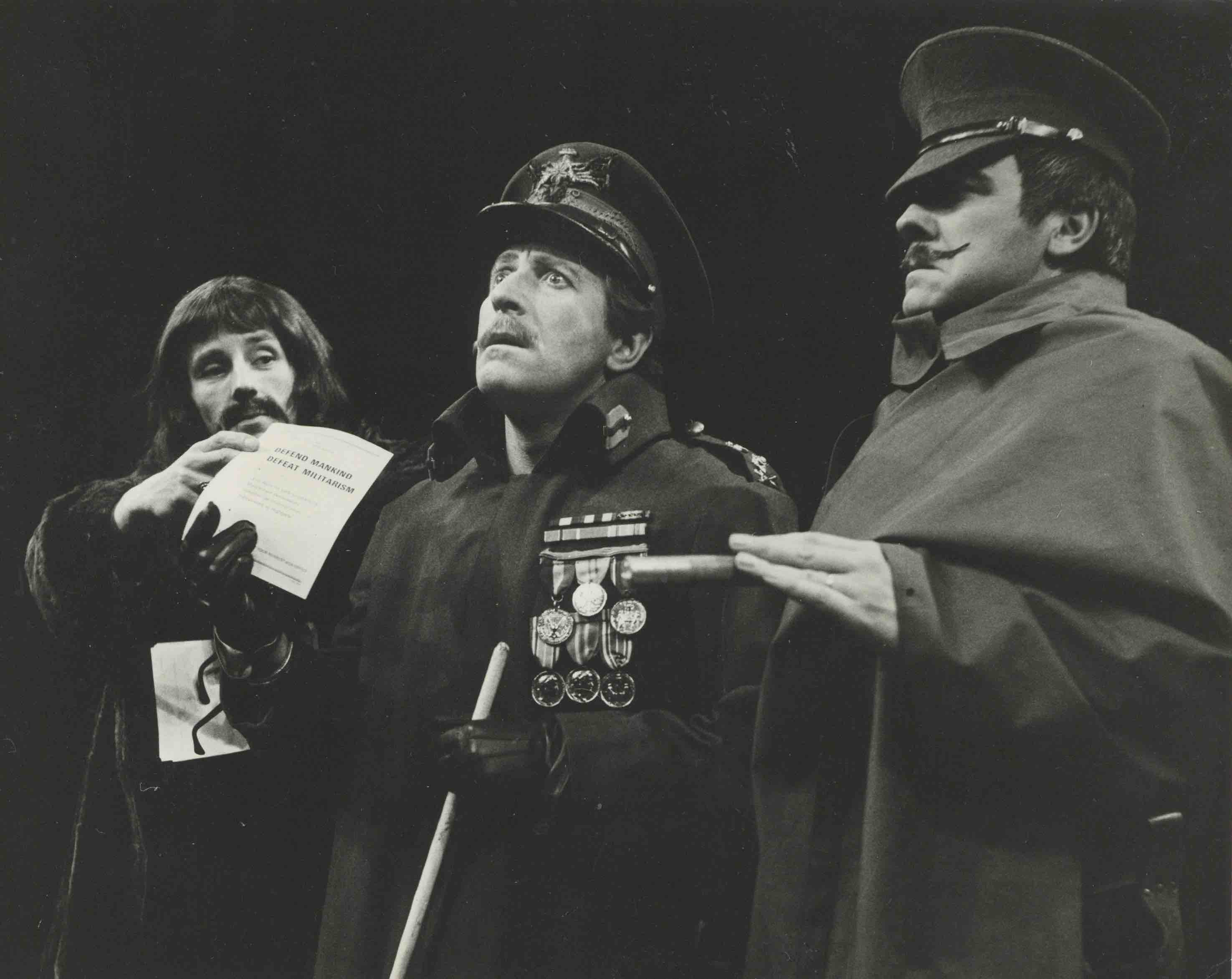 Production photograph - The Unknown Soldier and his Wife - Michael Burrell, Clive Revill, Mark Kingston - Photographer John Timbers - WSRO - Dimensions unknown