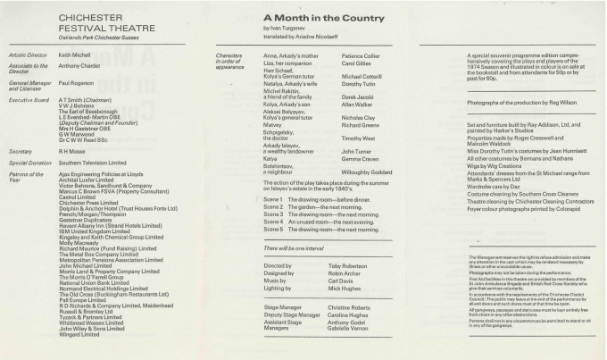 Cast List - A Month in the Country  - 1974- 2 of 2