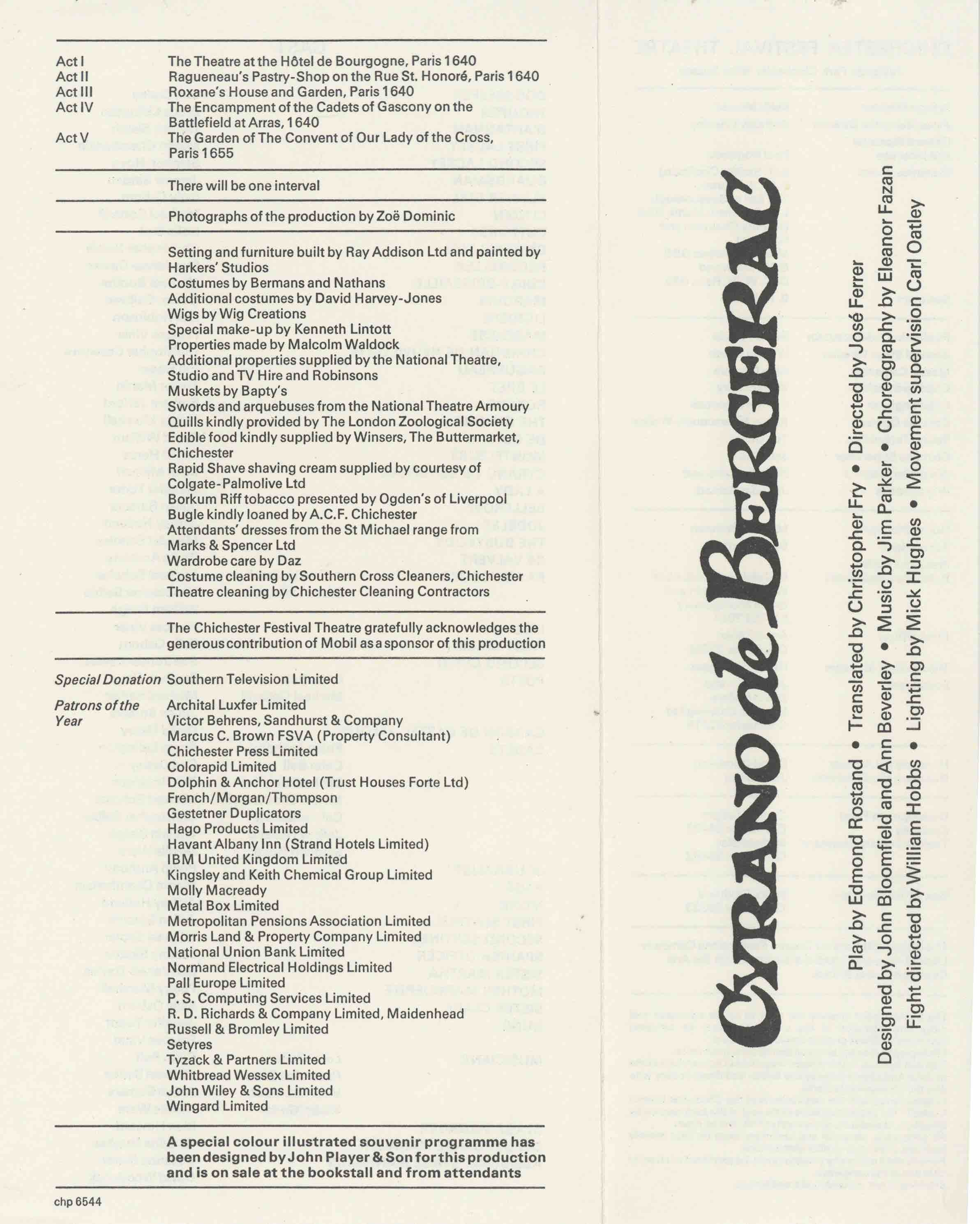 Cast List - Cyrano de Bergerac  - 1975- 1 of 2