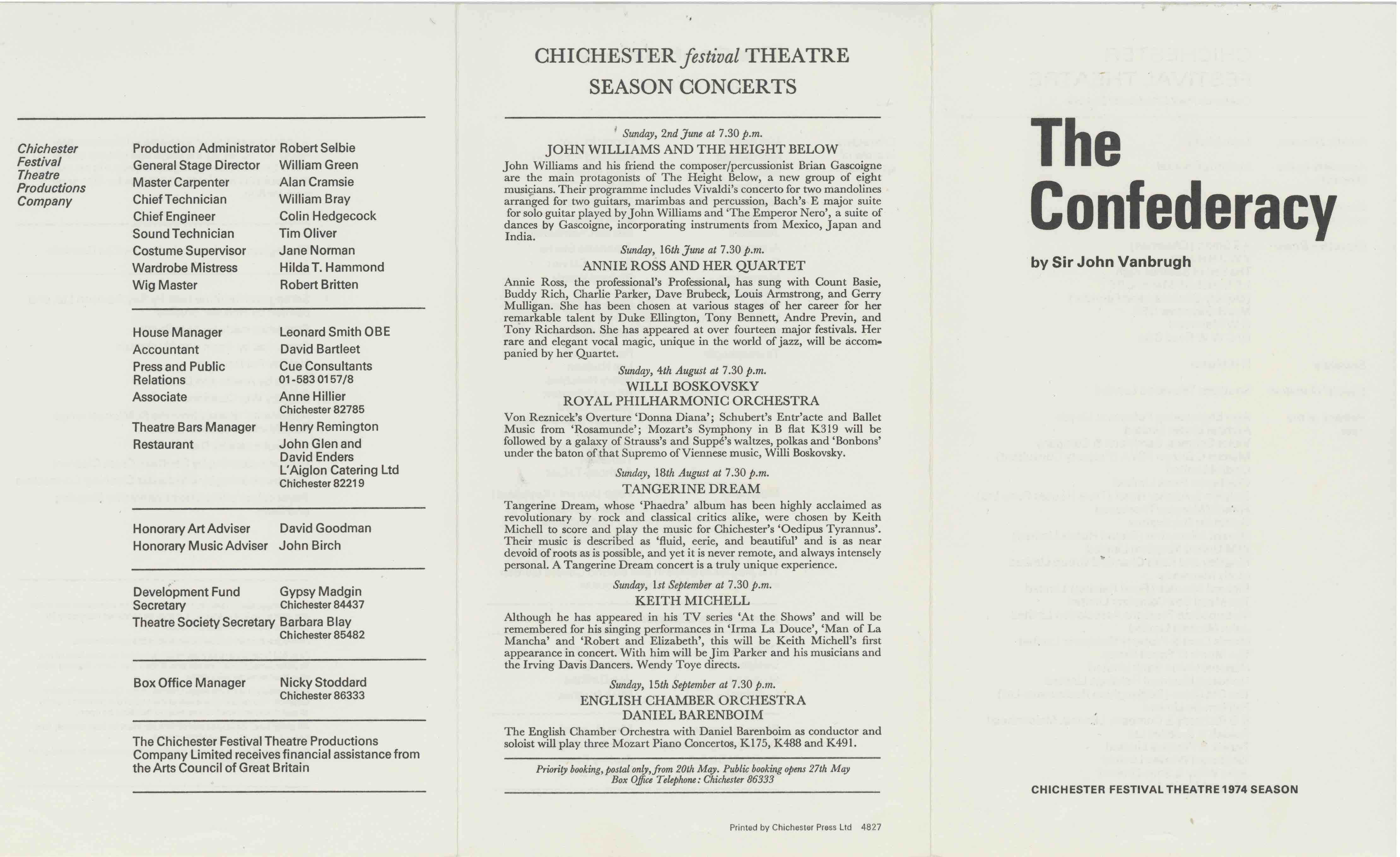 Cast List - The Confederacy  - 1974- 1 of 2