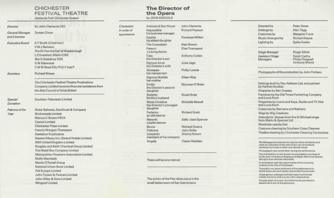 Cast List - The Director of the Opera  - 1973- 2 of 2