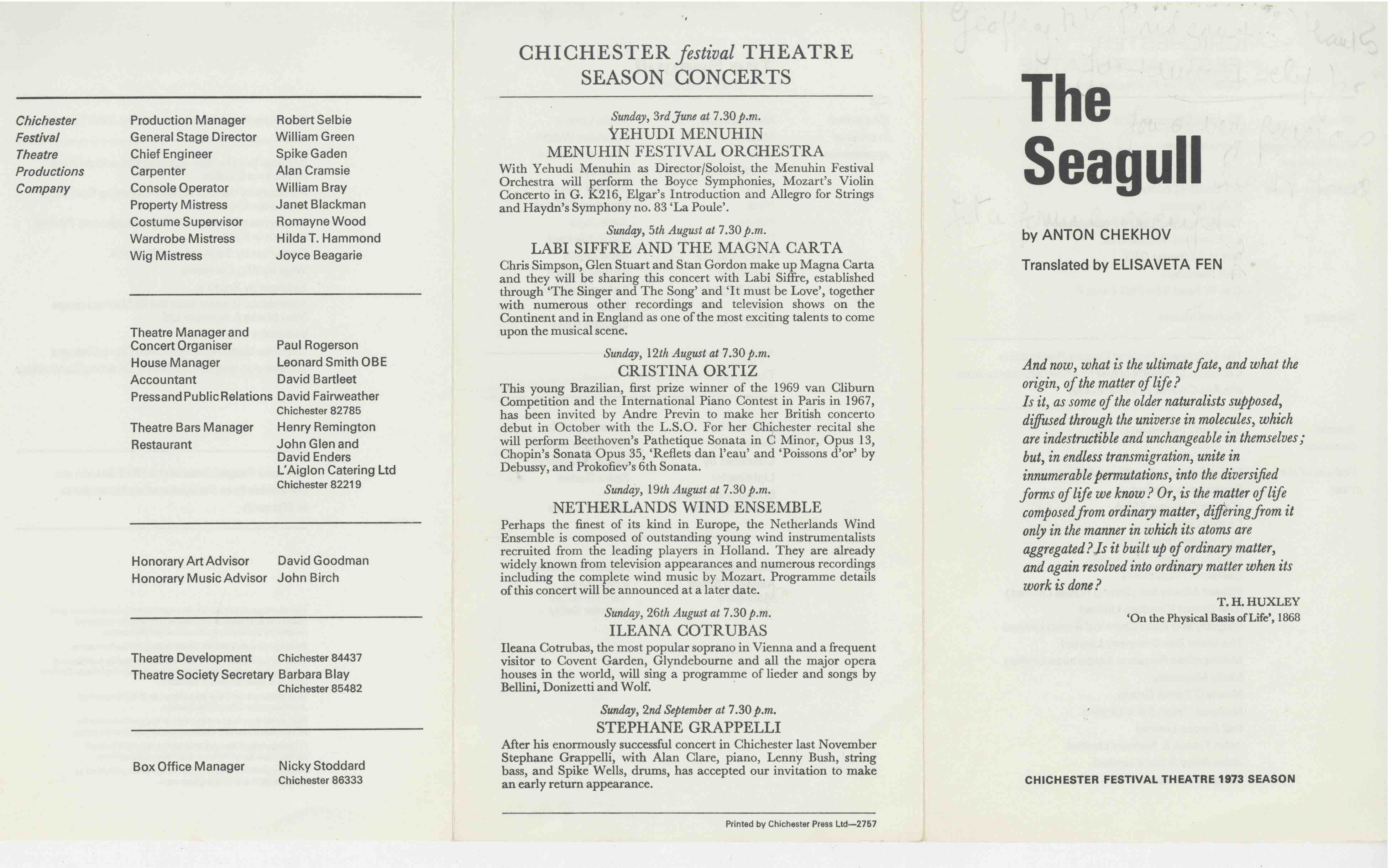 Cast List - The Seagull  - 1973- 1 of 2